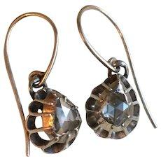 Antique Rose Cut Diamond Earrings Georgian