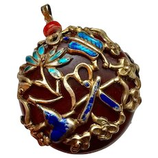 Vintage Chinese Pendant in Silver and Enamel