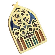 Larter and Sons, 14k Gold  Plique A Jour Church Window Charm