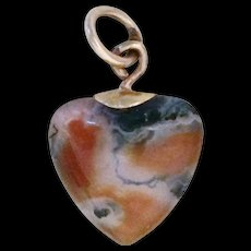 Vintage Gold & Agate Scottish Heart Charm