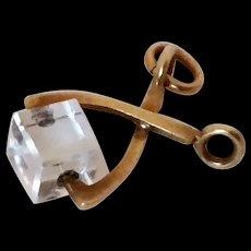 Vintage 14k Gold and Lucite Ice Tongs Charm