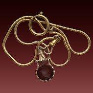 Victorian Carnelian Intaglio Hand Watch Fob on Watch Chain