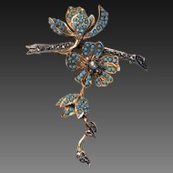 """Beautiful French """"En tremblant"""" Vintage Brooch with Turquoise & Marcasite"""