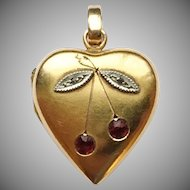 Victorian 18k Gold Heart Locket with Rubies & Rose Cut Diamonds