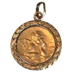 Art Nouveau 18K Gold French Raphael Cherub Charm Medal