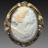 Victorian Day and Night Eos Nyx Carved Shell Cameo 14k Gold Brooch~Pendant