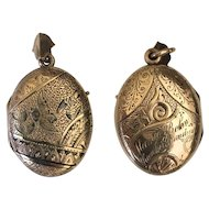 12K Gold Victorian Photo or Mourning Locket Pendant
