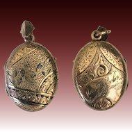 12K Gold Victorian Photo or Mourning Locket Pendant
