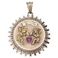 "Rare Vintage ""Mechanical"" French 18K Gold Charm Pendant IL Bat Pour Toi Ruby Set Heart"