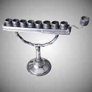 Antique Bezalel Judaica Sterling Silver Lamp  Menorah