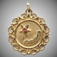 "Vintage 18k Gold French ""Etoile d'amour"" Love Token Charm Pendant"