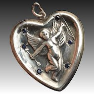 Vintage Puffy Heart Charm with Winged Cherub