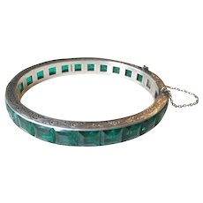"Art Deco Sterling Bangle Bracelet Faux Emeralds 3/8"" Wide"