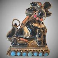 Vintage Tibetan Brass Foo Dog Pin Turquoise Coral