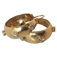 """Corletto"" 18K Yellow Gold & Diamond Hoop Earrings"