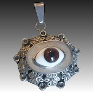 Whimsical Mexican Evil Eye Silver Pendant