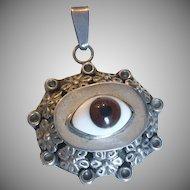 Whimsical Mexican Evil Eye Silver Pendant