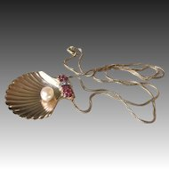Retro Clamshell Pendant with Natural Pearl, Rubies, Diamonds