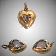Exceptional Victorian 18k Gold, Pearl & Crystal Puffy Heart Charm