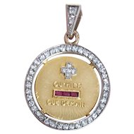 Authentic Vintage French 18k Gold Love Token Charm Qu'hier Que Demain