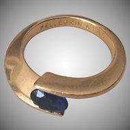Modernist French 18k Gold & Sapphire Ring Pellegrin Et Fils