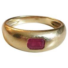 Victorian French 18k Gold Ruby Gypsy Ring