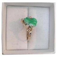 Estate 14K Yellow Gold, Carved Jade & Diamond Frog Ring