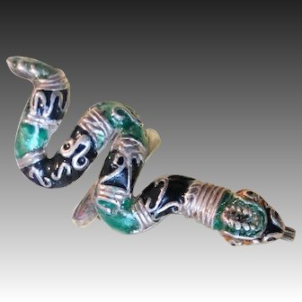 """""""Ric"""" Erika Hult de Corral Taxco Mexican Modernist Sterling Silver Enamel Snake Ring"""
