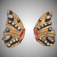 """Hollywood Style Vintage """"Butterfly"""" Wing  Earrings"""