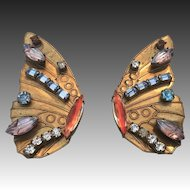 "Hollywood Style Vintage ""Butterfly"" Wing  Earrings"