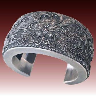 Exquisite Sterling Silver Antique Victorian Cuff Bracelet