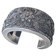 Exquisite Sterling Silver Antique Victorian Cuff Bracelet
