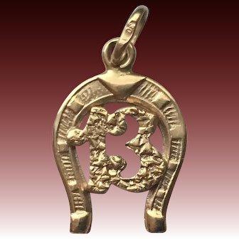 Antique 18k Gold Lucky 13 Charm-Pendant