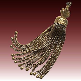 Exquisite Antique Victorian Tassel Charm, 14k Gold