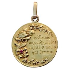 Rare!  French A.Augis Love Token Medal Charm Qu'hier Que Demain