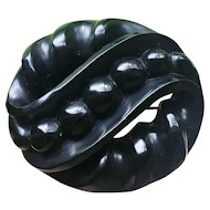 Victorian Whitby Jet Large Mourning Brooch
