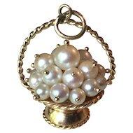 Basket of Pearls Vintage Charm 14k Gold