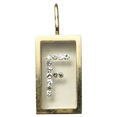 "French Floating Diamond Letter ""F"" 18k Gold Charm"