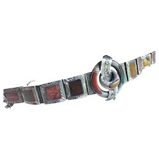 Antique Victorian Scottish Sterling Silver-Mounted Agate Bracelet