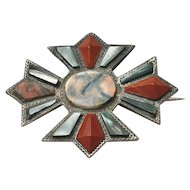 Scottish Agate and Silver Brooch/Pin