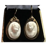 White Lava Cameo Victorian Earrings in Gold