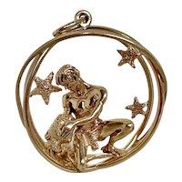Spectacular William RUSER Vintage 14 K Gold Aquarius Astrological Charm Pendant