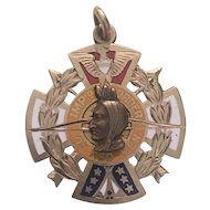 """10K Gold """"Improved Order of the Red Men"""" Fraternal Medal, c.1908"""
