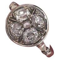 Antique 14k Gold Mine Cut Diamond Ring, 1.40 cts.