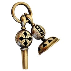 Victorian 14k Gold Watch Key & Seal Fob on Split Ring