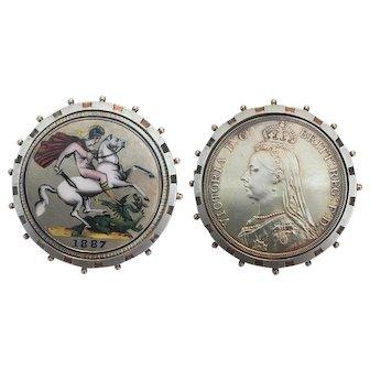 "Superb! Antique Queen Victoria Silver Crown, ""Flip"" Coin Brooch, St George, 1887"