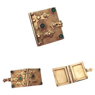 Rare 18k Gold & Emerald Victorian Book Locket Charm