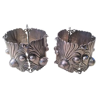 Pair of Hallmarked 980 Mexican Silver Cuff Vintage Bracelets