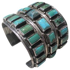Gorgeous Zuni Sterling Silver Untreated Turquoise Cuff Bracelet, circa 1940's