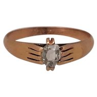Victorian 14k Gold Fede Ring with Diamond